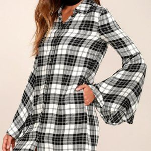 🆕Lulu's Tymber Plaid Shirt Dress…